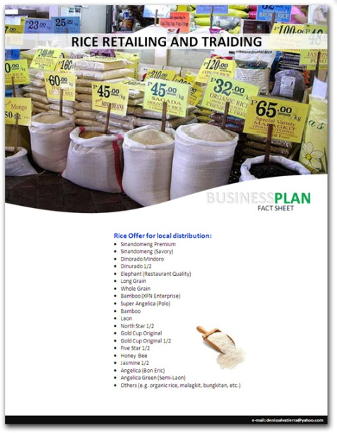 business plan for rice retailing Ofw from dubai augments income by rice retail and grocery business through balik pinas, balik-hanapbuhay program.